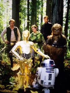 Luke, Han, Chewie, R2-D2, C-3PO y la de las mallorquinas